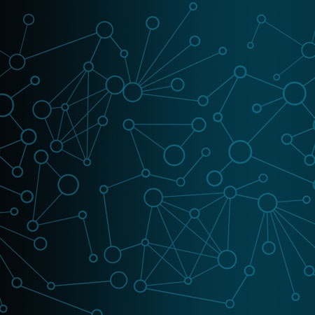 A dark blue illustration of networked pieces.